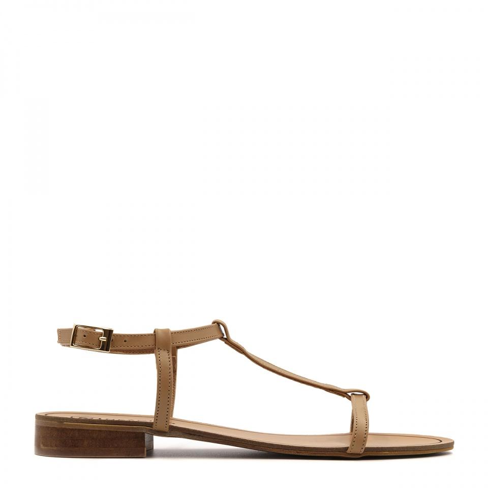Karmelowe skórzane sandały z cienkich paseczków 09T