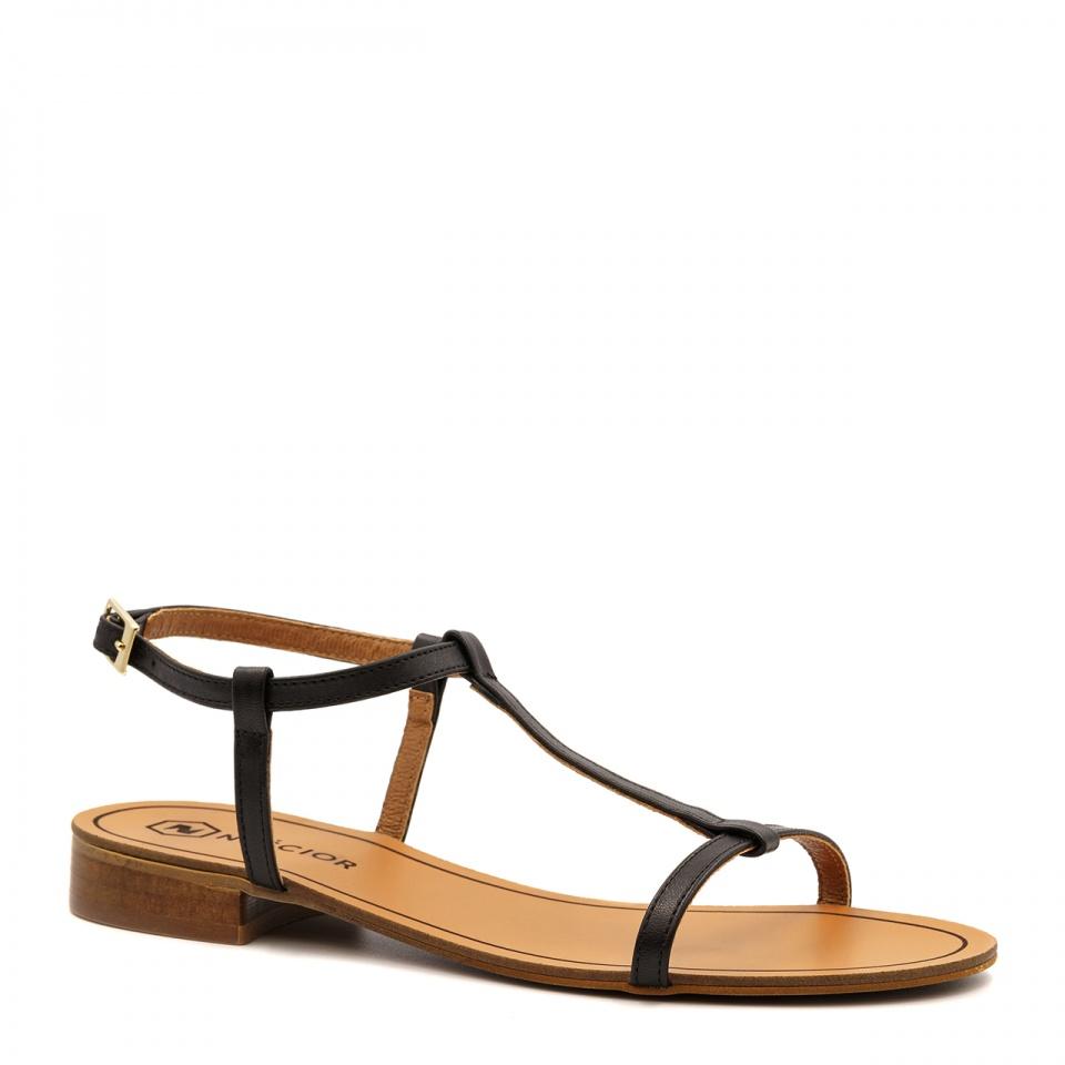 Czane skórzane sandały z cienkich paseczków 09T
