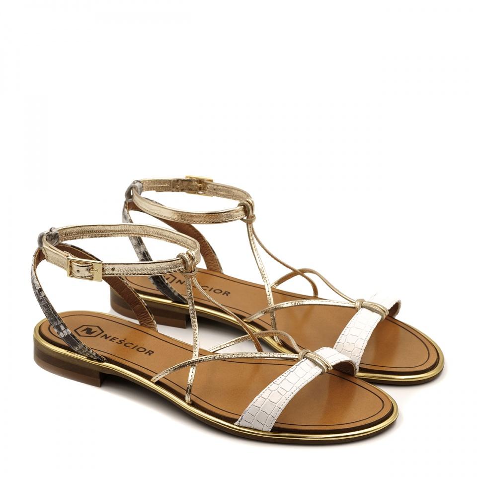 Skórzane sandały z cienkimi paseczkami w kolorach białym złotym i szaro-białym zapinane wokół kostki 67F