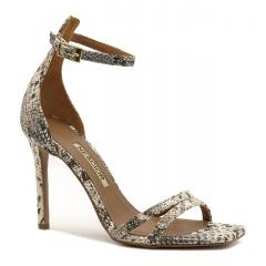 Wężowe skórzane sandały na szpilce z kwadratowym noskiem 116P