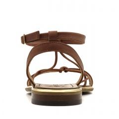 Brązowe skórzane sandały zapinane wokół kostki 67F