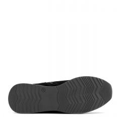 Czarne sportowe welurowe botki z metalizowaną wstawką w podeszwie 278D