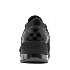 Sportowe czarne sneakersy z metalizowaną wstawką 278K