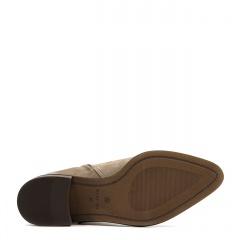 Kawowe botki ze skóry nubukowej na niskim obcasie 221B