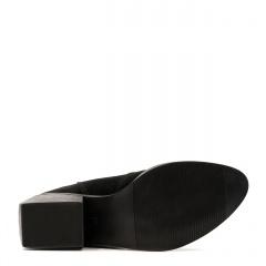 Czarne welurowe botki z frędzlami na prostokątnym obcasie 36F