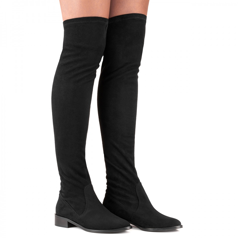 Czarne kozaki za kolano na niskim obcasie 28L