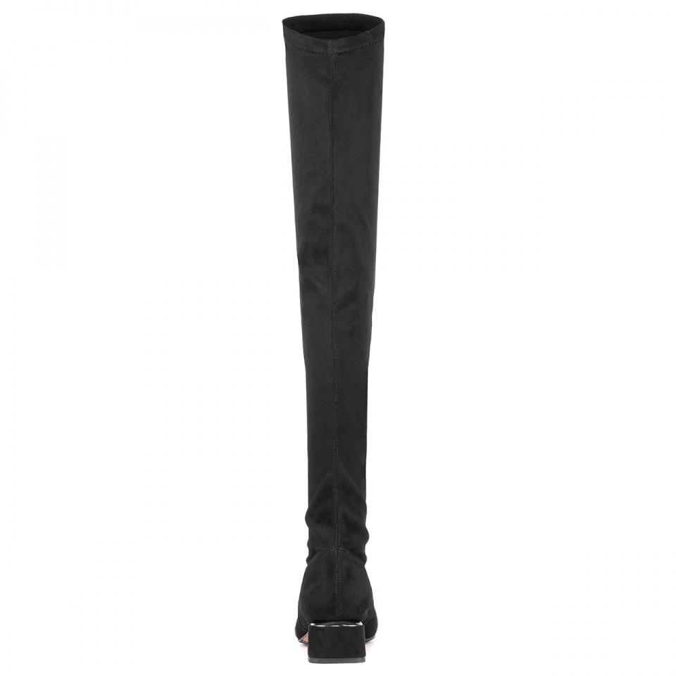 Czarne kozaki za kolano z lycry 230L
