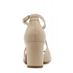 Pudrowo różowe skórzane sandały na niskim słupku 209E