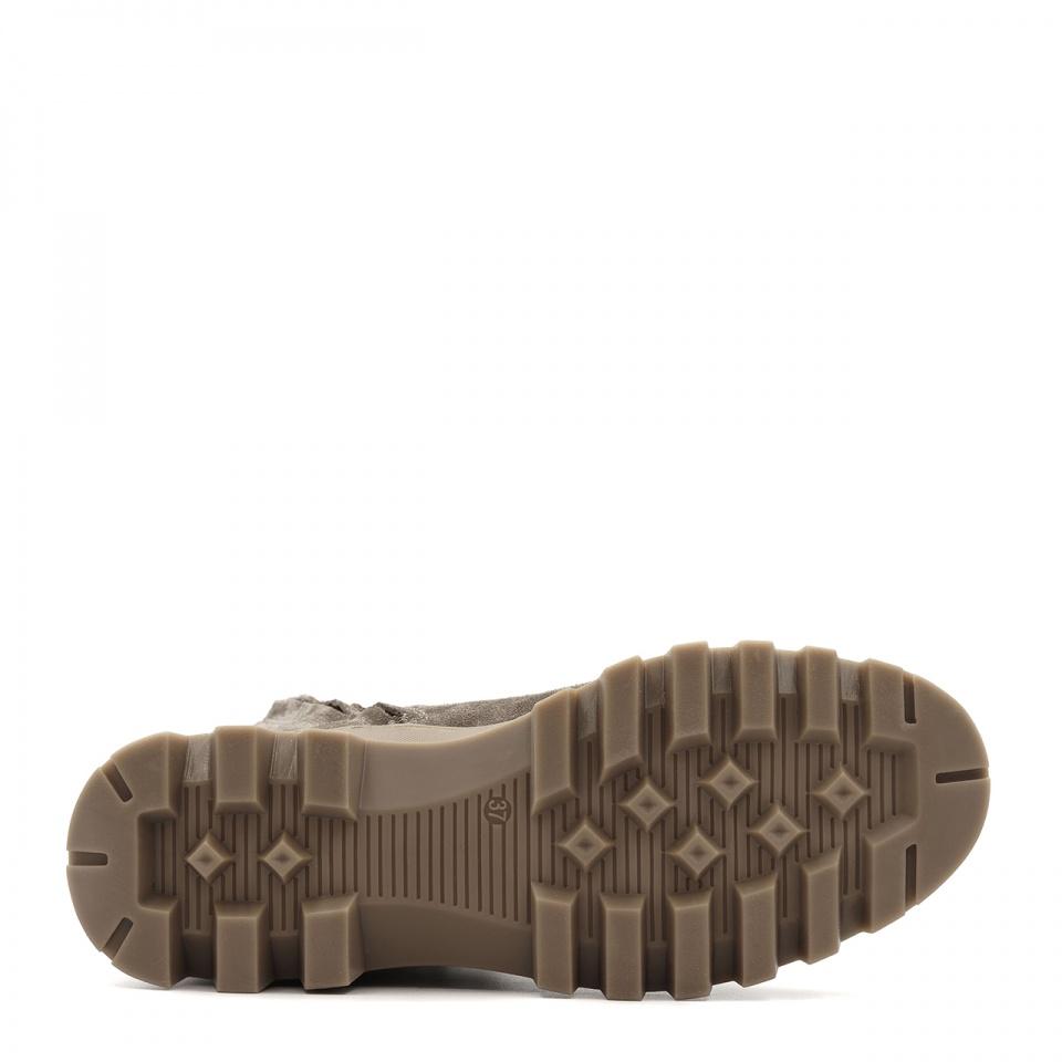 Kawowe welurowe sznurowane botki na grubej podeszwie 214G