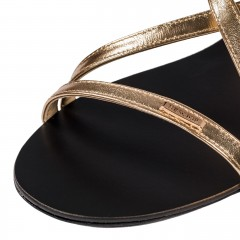 Złote skórzane sandały
