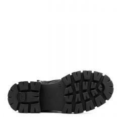 Czarne sznurowane botki z nubuku na grubej podeszwie 214D