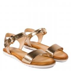 Złote skórzane sandały na grubej podeszwie 67S