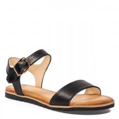 Czarne skórzane sandały na grubej podeszwie 67S