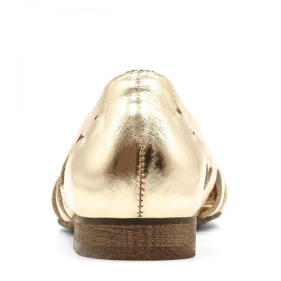 Złote skórzane baleriny z ażurowymi wycięciami 207H