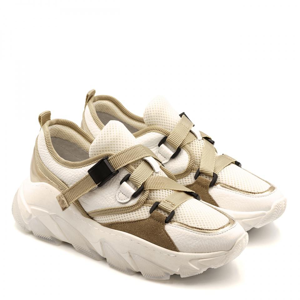 Białe sportowe buty na grubej podeszwie 256D