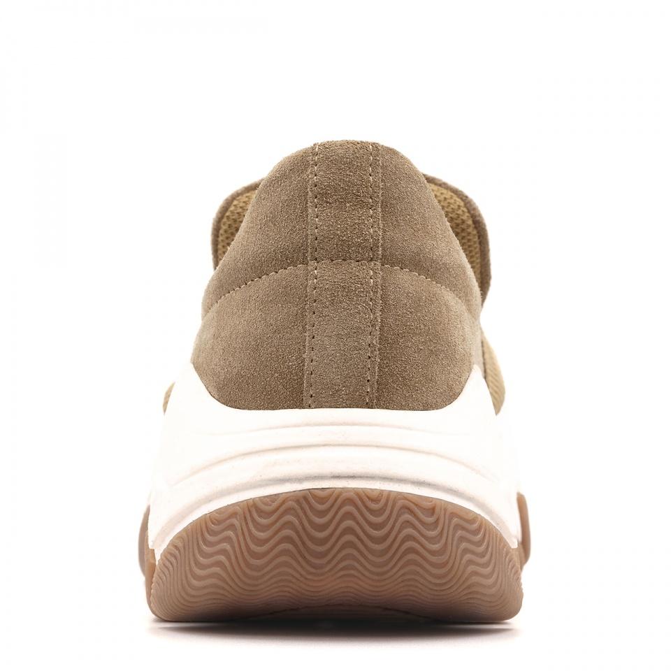 Beżowe welurowe sportowe buty z masywną ozdobą 256F