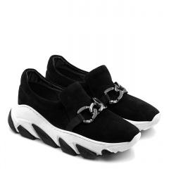 Czarne welurowe sportowe buty z masywną ozdobą 256F