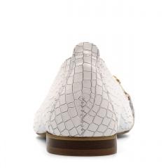 Białe skórzane baleriny w krokodyli wzór 263G