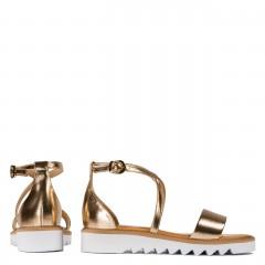Złote skórzane sandały damskie ze złotymi paskami 67A