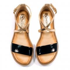 Czarne skórzane sandały damskie ze złotymi paskami 67A