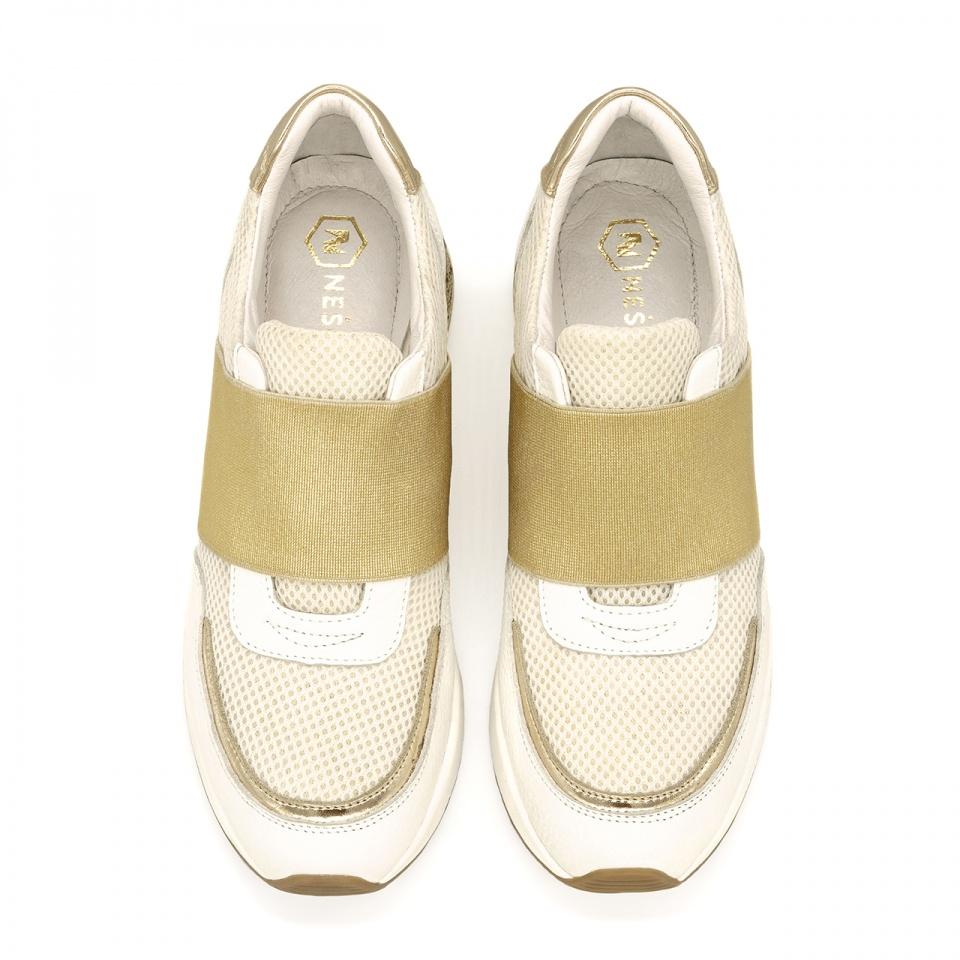 Sportowe biało-złote sneakersy z szeroką gumą 278G