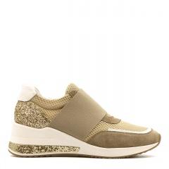 Sportowe beżowe sneakersy z szeroką gumą 278G