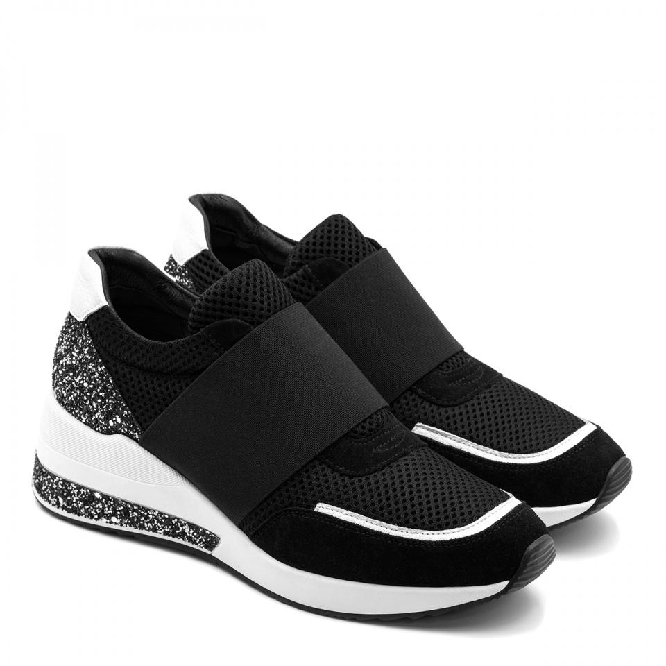 Sportowe czarno-białe sneakersy z szeroką gumą 278G