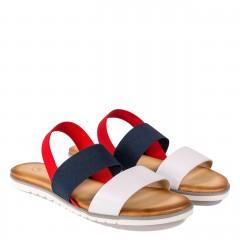 Trzykolorowe skórzane sandały z gumką 67P