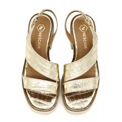 Złote skórzane sandały na grubej podeszwie 85D