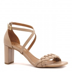 Ciemnobeżowe skórzane sandały z warkoczem 119P