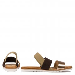 Dwukolorowe skórzane sandały z gumką 67P