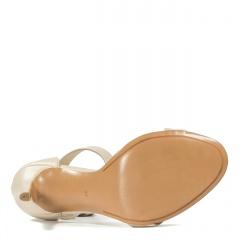 Beżowe skórzane szpilki sandały zapinane wokół kostki