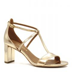 Złote skórzane sandały z paskami na niskim słupku 209D