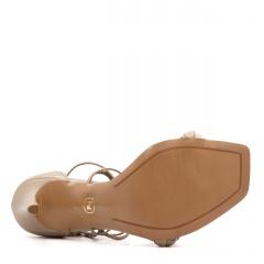 Ciemnobeżowe skórzane szpilki sandały z warkoczem z przodu 116B