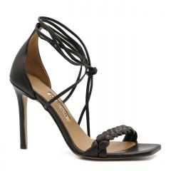 Czarne skórzane szpilki sandały z warkoczem z przodu 116B