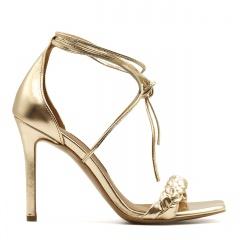 Złote skórzane szpilki sandały z warkoczem z przodu 116B