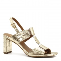 Złote skórzane sandały na słupku w krokodyli wzór 119A