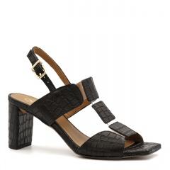 Czarne skórzane sandały na słupku w krokodyli wzór 119A