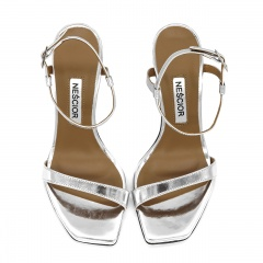 Srebrne szpilki sandały z kwadratowym noskiem 116A