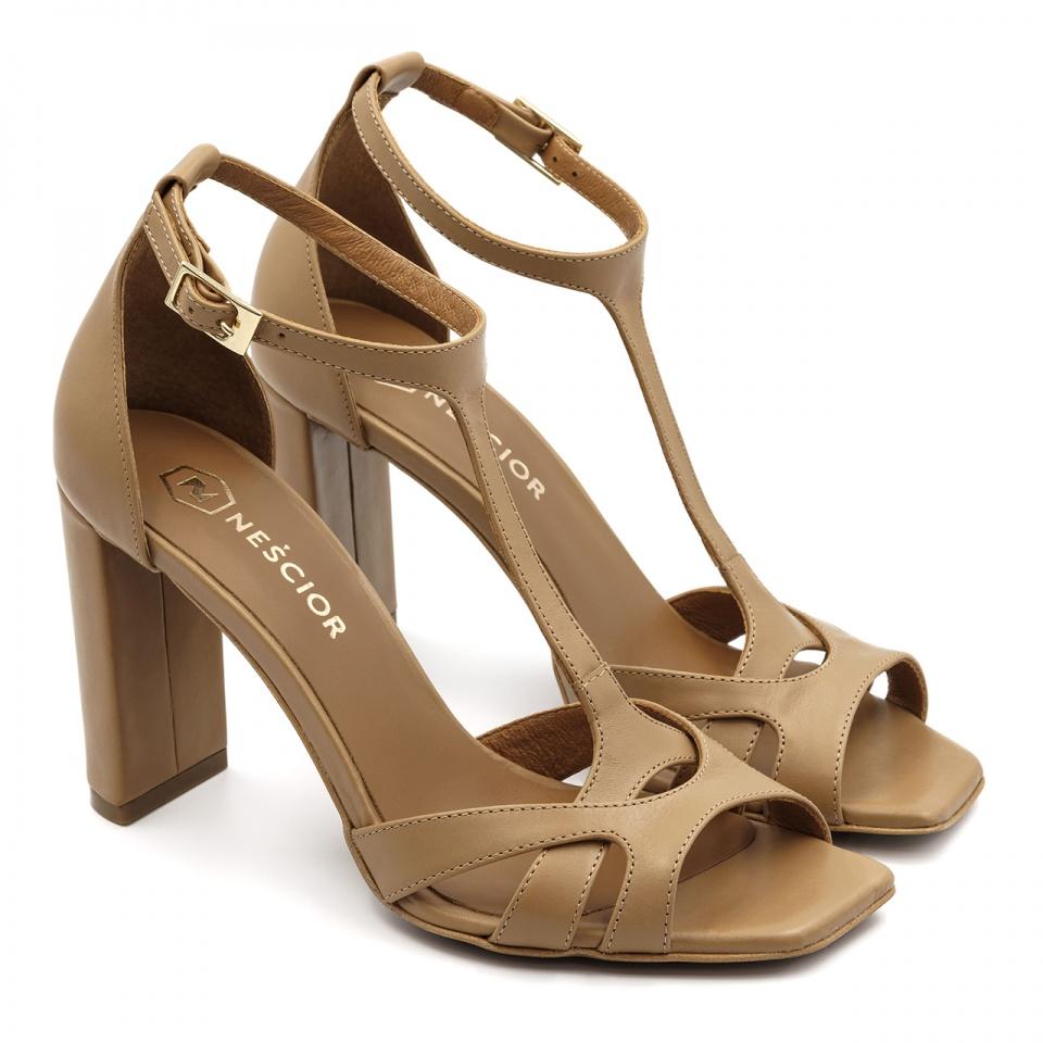 Karmelowe skórzane sandały z kwadratowym noskiem 133D