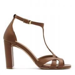 Jasnobrązowe skórzane sandały z kwadratowym noskiem 133D