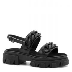 Czarne skórzane sandały na grubej podeszwie 216R