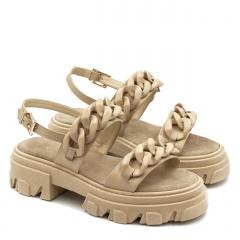 Beżowe skórzane sandały na grubej podeszwie 216R