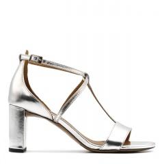Srebrne skórzane sandały z paskami na niskim słupku 209D