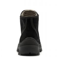Czarne welurowe sznurowane botki za kostkę 214B