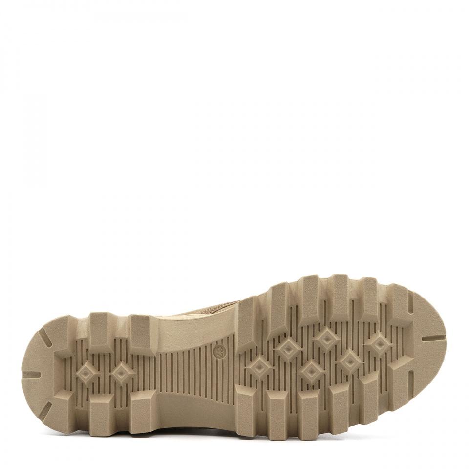 Beżowe welurowe sznurowane botki za kostkę 214B