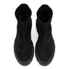 Czarne botki bez zamka na grubej podeszwie 242L