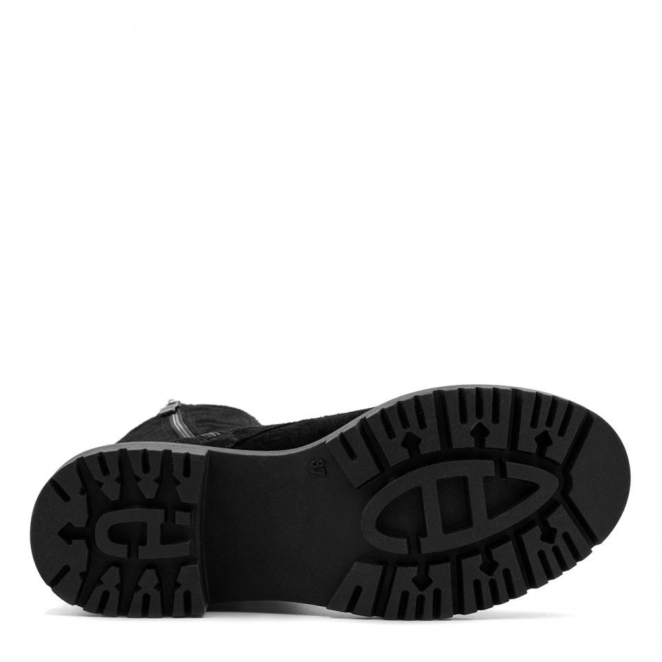 Czarne sznurowane botki ze skóry welurowej SD360