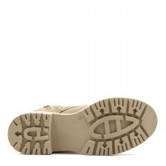Beżowe sznurowane botki ze skóry welurowej SD360