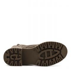 Kawowe sznurowane botki ze skóry welurowej SD360